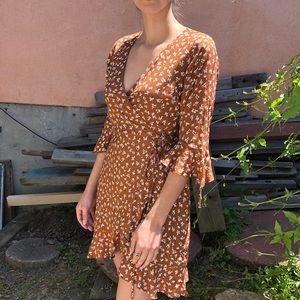 Dee Elly   3/4 Sleeve Floral Wrap Mini Dress